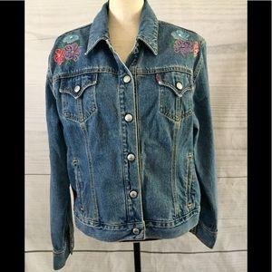 Levi's Jacket. Floral decor